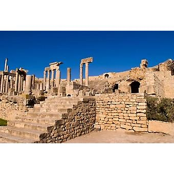 Roman Theater Ancient Architecture Dougga Tunisia Poster Print by Bill Bachmann