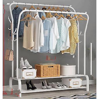 Floored Drying Rack, Pole Style, Coat Hanger Indoor, Metal Storage Wardrobe,