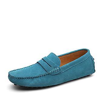 Große Größe Loafers weiche Mokassins, echtes Leder Schuhe Männer warm und Wohnungen