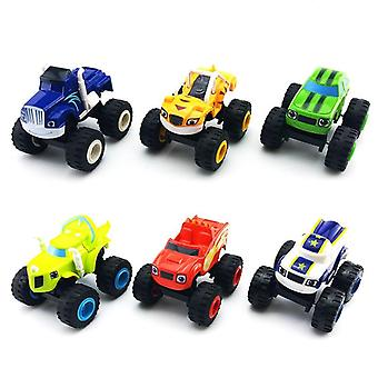 6pcs/set Blazed Machines Car Russian Miracle Crusher Truck Vehicles (a)