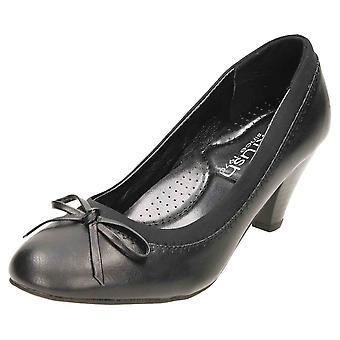 Krush Black Court Shoes Mid Heel Bow