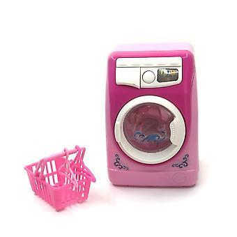 Kids Mini Simulation Light Electric Washing Machine Basket Pretend Play Toy Set