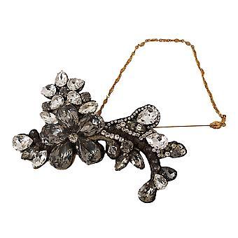 Guld Revers Pin Kæde Klar Grå Crystal Flower Broche