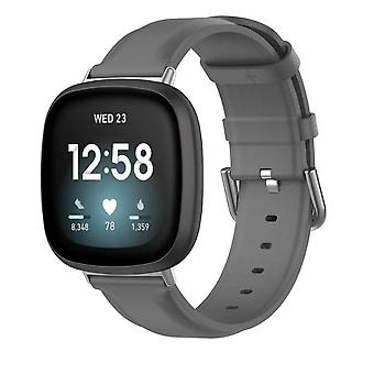 Pour Fitbit Versa 3 / Sense Band Leather Replacement Wristband Strap[Grey]