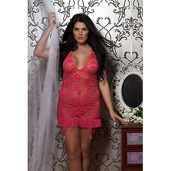 Coral Lace Babydoll With Removable Garters & Thong Sizes M/l, Xl/2xl