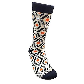 Salmon and Navy Blue Patterned Socks (Adult Large) from the Sock Panda