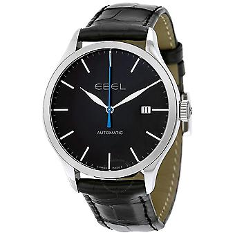 Ebel Classic 100 Automatic Black Dial Black Leather Men's Watch 1216089