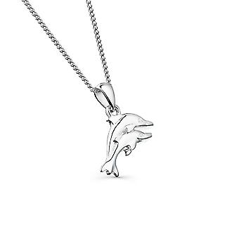 Sterling Silver Pendant Necklace - Origins 2 Textured Dolphins