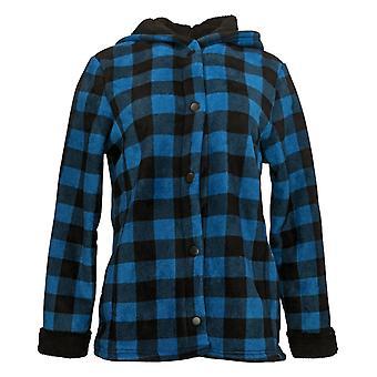 Cuddl Duds mujeres's Fleecewear Bonded Sherpa Snap Chaqueta Frontal Azul A381706