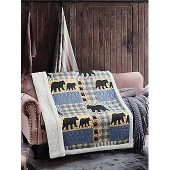 Spura Home Pictorial Black Bear Primitive Contemporary Quilted Sherpa Throw