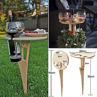 Outdoor Wine Table with Foldable Round Desktop Mini Wooden Picnic Table Easy To Carry Wine Rack