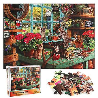 1000-Piece wooden puzzle cat on the window