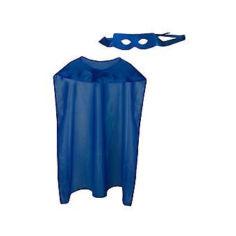 Volwassen blauwe superheld kaap en masker