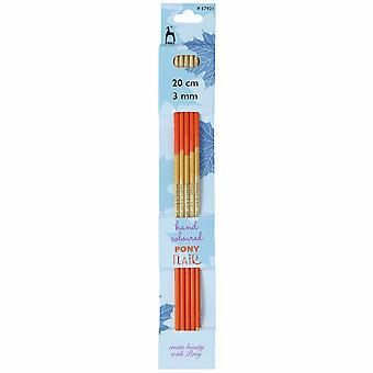 Ponin neuletappit: Kaksipäiset: Viiden sarja: Flair: Käsin värillinen: 20cm x 3.00mm