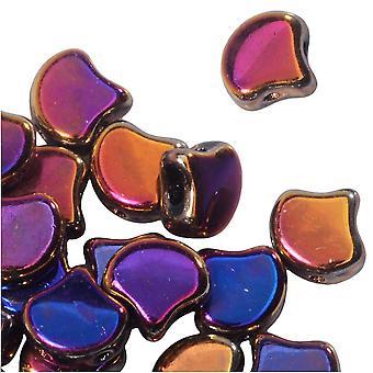 Tšekkiläinen lasi, 2-reikäinen Ginko Beads 7,5mm, 10 grammaa, Jet Full Sliperit