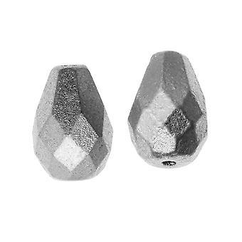 Tšekkiläinen tuli kiillotettu lasi, faceted tear drop kset 10x7mm, 12 kappaletta, matta hopea