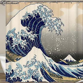 cortina de ducha La gran ola fuera de cortina con patrón de ola de mar baño impermeable (180 * 180CM)