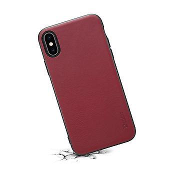 Ægte læder Tegnebog kort slot sag til iPhoneX/XS rød