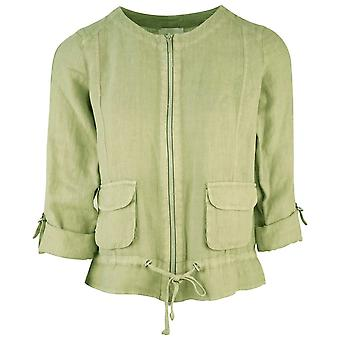 Just White Khaki Green Rolled Sleeve Lightweight Cropped Linen Jacket