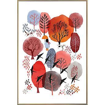 JUNIQE Print - Autumn Forest - Bois poster en rouge