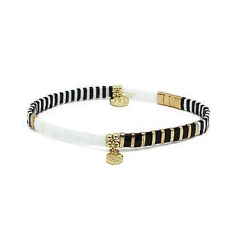 Boho betty think black tila bead stretch charm bracelet