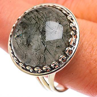 Large Tourmalinated Quartz Ring Size 12.5 (925 Sterling Silver)  - Handmade Boho Vintage Jewelry RING66815