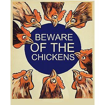 Vintage metall tegn pass opp for kyllingene