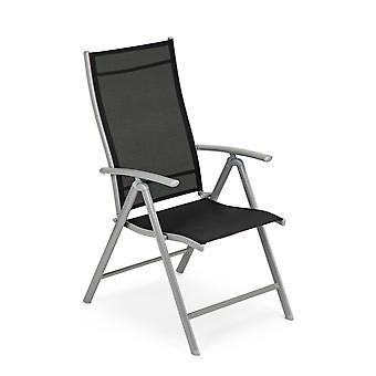 Trädgårdsstol 7-stegs justerbar – uppsättning av 2 – Vikbar – Metall