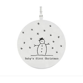5.5cm Porcelain Hanging Decoration  Baby's First Christmas   Snowman Design
