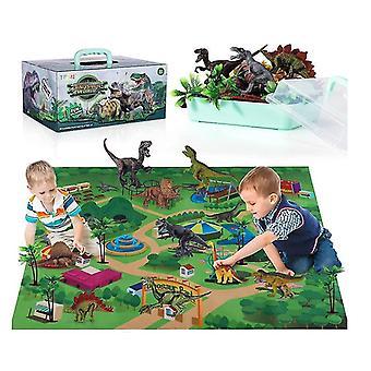 Dinosaur Toy Figure Activity Play Mat Trees,educational Realistic Dinosaur Playset