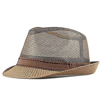 Summer Straw, Fedoras Top Jazz Plaid Hat - Bowler Cap Classic Version(Champagne)