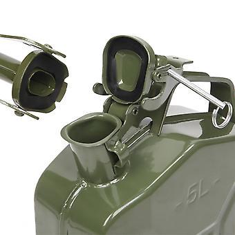 튜브가 있는 자동차 액체 오일용 5l 0.6mm 금속 양동이 옥외 가솔린 저장 배럴(육군 그린)