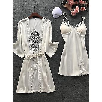 春の氷シルク長袖パジャマ、女性安いローブ&ガウンセット