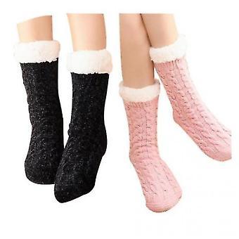 Ladies Foot Warmer Soft Socks Winter Warm Cotton Socks Household Foot Warmer(Black)