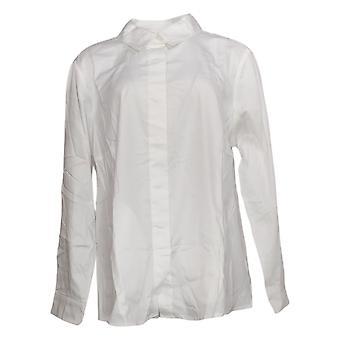Isaac Mizrahi En direct! Women's Top Button Down Collared Shirt Blanc A378608