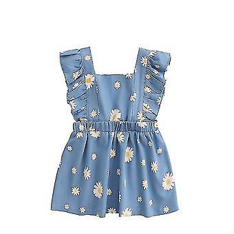 Malé dievčatá Princezná šaty bez rukávov Denim Tops Sundress Kvetinové sukne (120CM)