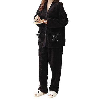 YANGFAN Womens Fleece Pajamas Set Single Breasted Warm Nightdown and Pant