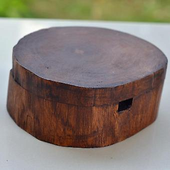 Vintage Natural Wood Carving Ashtray With Lid Detachable Simple Design Decorate