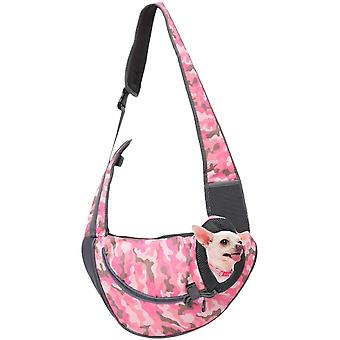 Pet Cats And Dogs Go Out Portable Chest Messenger Bag (pink Camouflage S)
