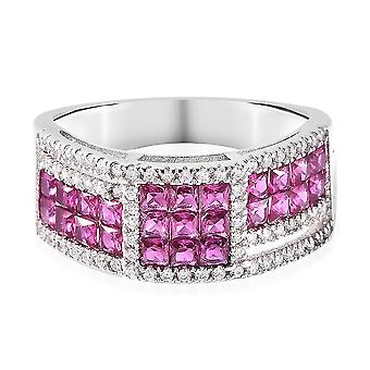 Lustro Stella Red Cubic Zirconia Cluster Ring for Women in Silver 1.93ct(R)