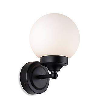 Firstlight Louis Bagno Globe Applique Nero con Vetro Bianco Opale IP44