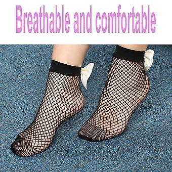 Ženy Bow Tie Priedušné Veľký Fishnet Členok Vysoké ponožky Fish Net Krátke ponožky