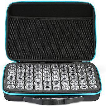 Aufbewahrungsbox mit 60 Fächern, Kleine Flasche, Aufbewahrungsbox aus Strass, Aufbewahrungsflaschenbox, Doppelreißverschluss, Blau