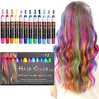 12 Color Temporary Hair Chalk Hair Pens Teinture capillaire lavable non toxique