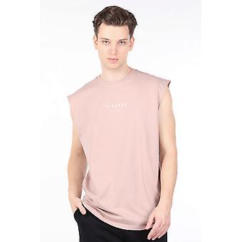 Menn Beige Ermeløs Crew Neck T-skjorte