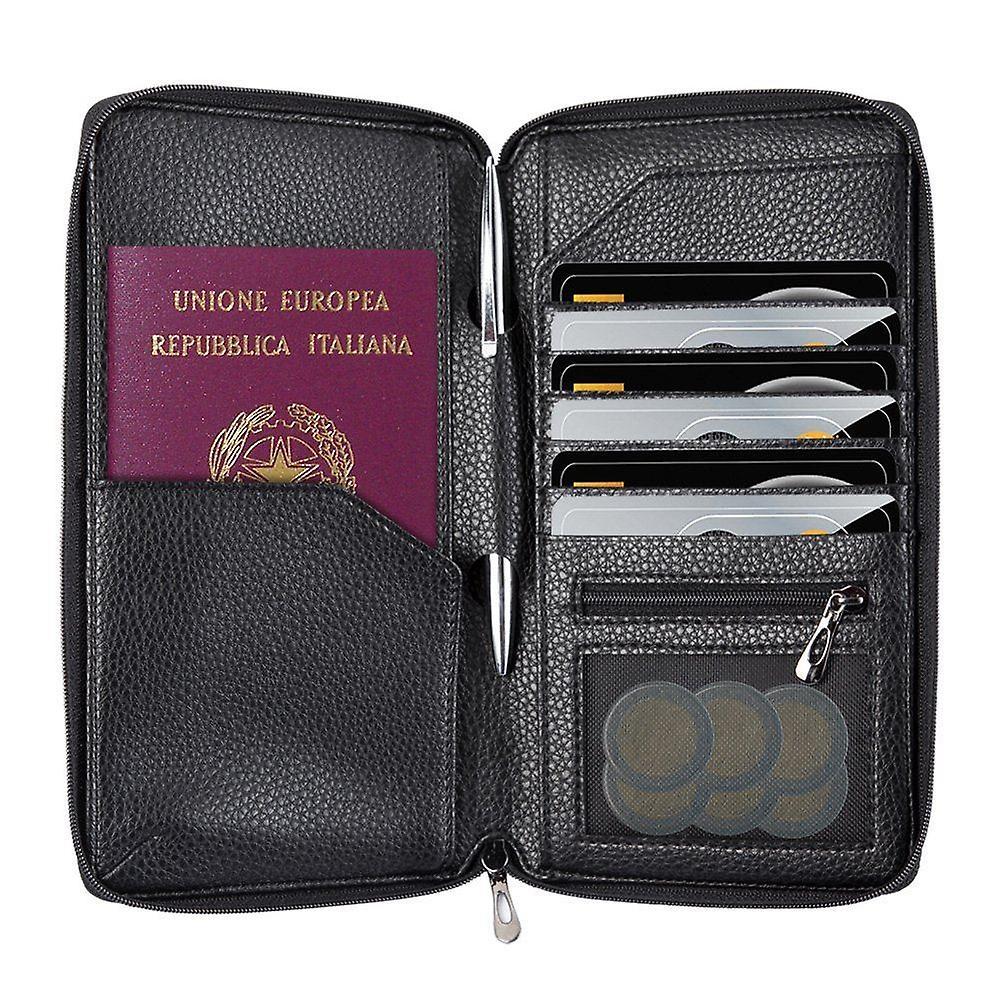 InventCase PU Leder RFID-Blockierung Pass / ID-Karte / Geld Brieftasche Veranstalter Holder Case Cover für Italien / italienische Pässe - schwarz