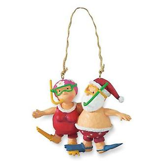 Santa and Mrs. Claus Snorkeling Christmas Holiday Ornament