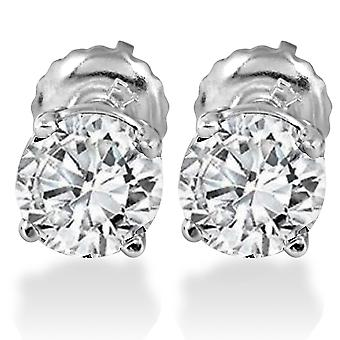 1.25CT Diamond Studs Screw Back 14K White Gold