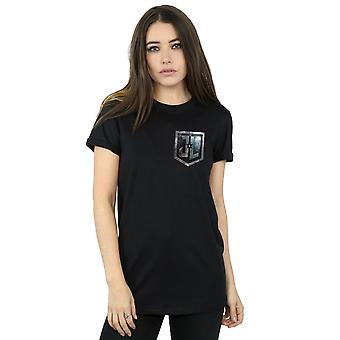 DC Comics Women's Justice League Movie Shield Faux Pocket Boyfriend Fit T-Shirt