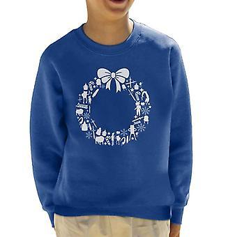 Adventure Time Christmas Wreath Pattern Kid's Sweatshirt